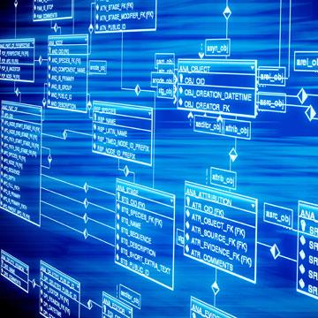 Abstraktes Bild mit Datenbankmodelldiagramm in blau
