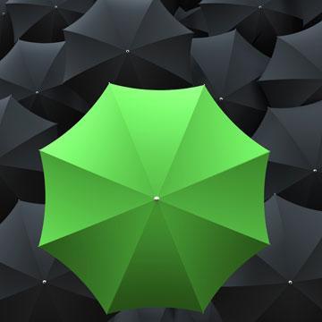 Regenschirm als Symbol, dass wir Sie nicht im Regen stehen lassen werden